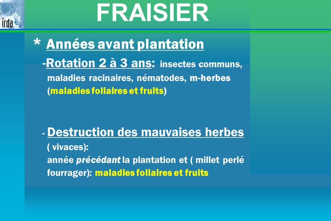 FRAISIER * Années avant plantation