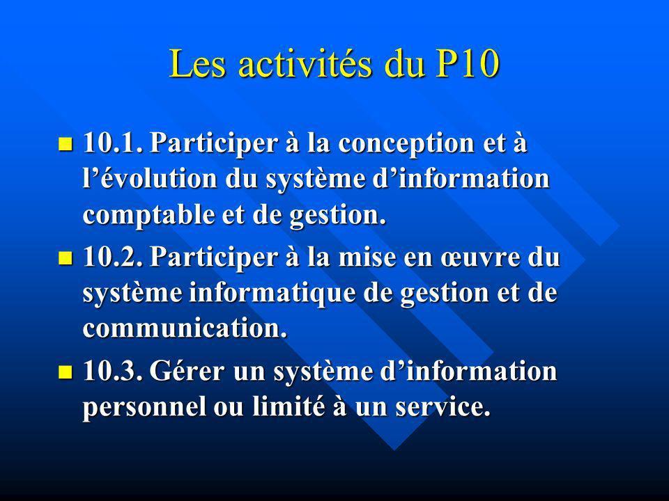 Les activités du P10 10.1. Participer à la conception et à l'évolution du système d'information comptable et de gestion.