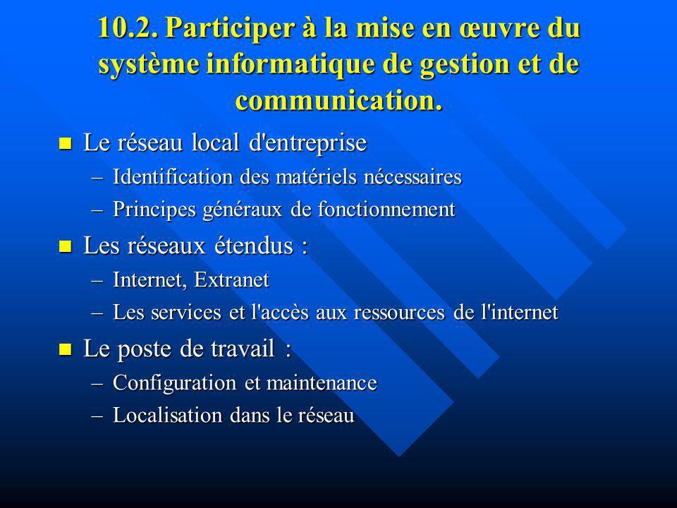 10.2. Participer à la mise en œuvre du système informatique de gestion et de communication.