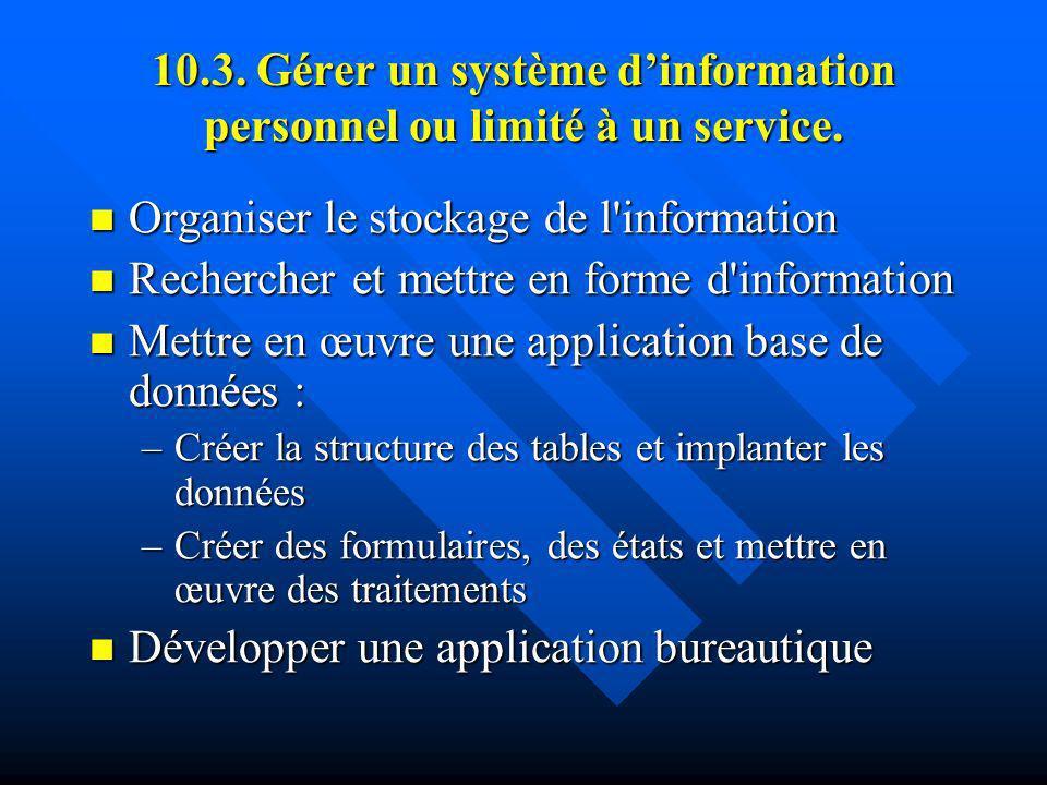 10.3. Gérer un système d'information personnel ou limité à un service.