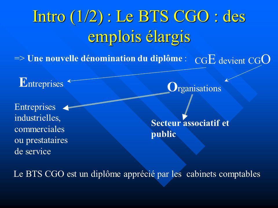 Intro (1/2) : Le BTS CGO : des emplois élargis