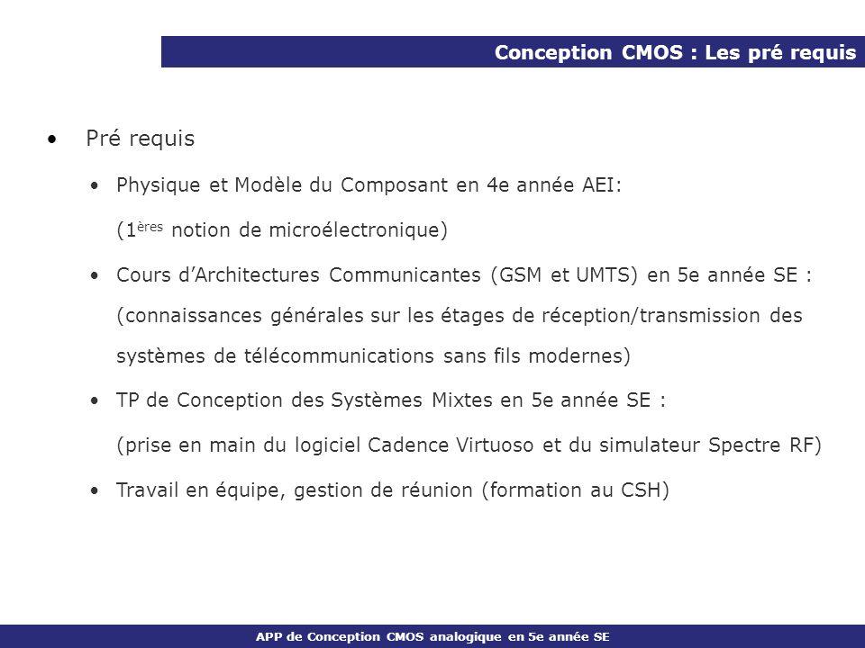 Pré requis Conception CMOS : Les pré requis