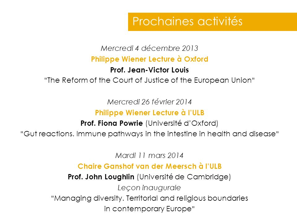 Philippe Wiener Lecture à Oxford