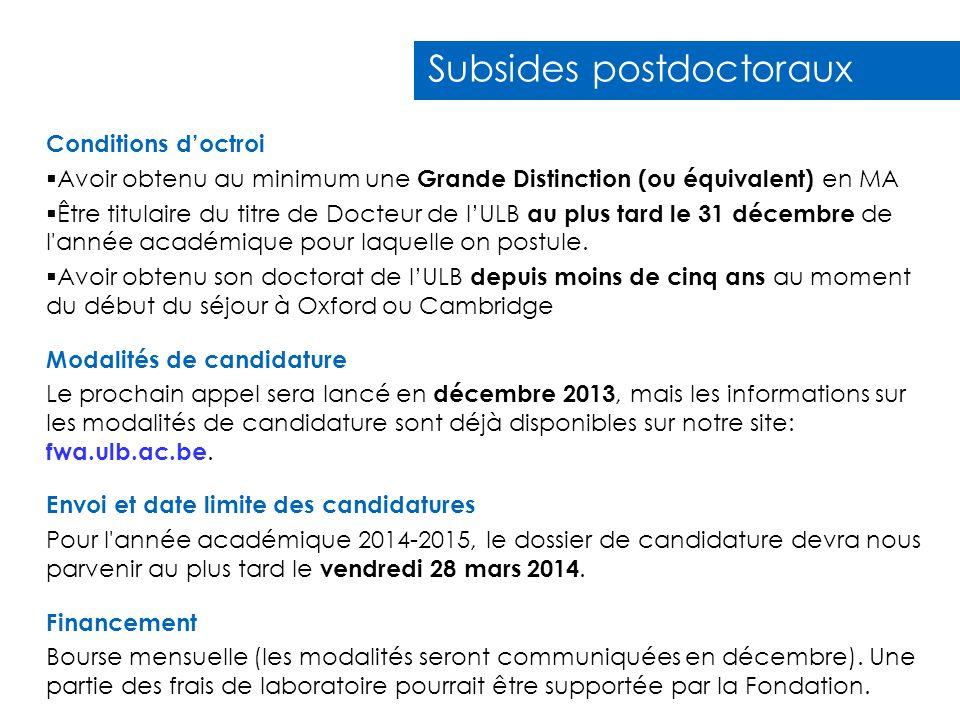 Subsides postdoctoraux