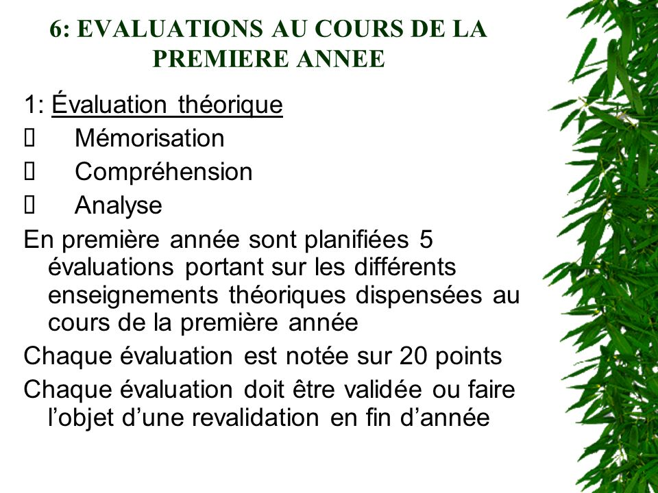 6: EVALUATIONS AU COURS DE LA PREMIERE ANNEE
