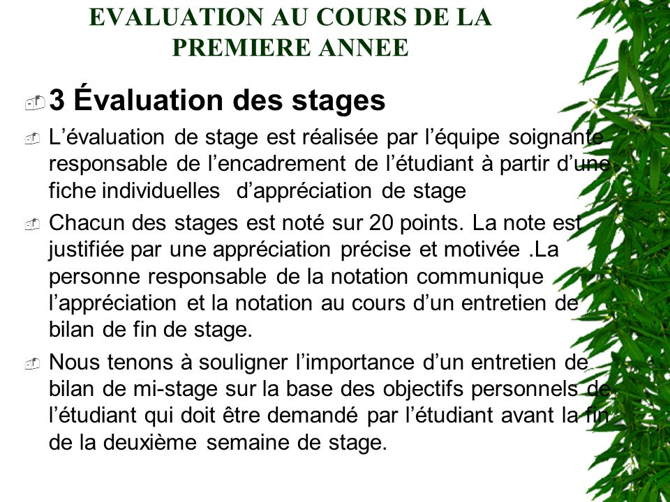 EVALUATION AU COURS DE LA PREMIERE ANNEE