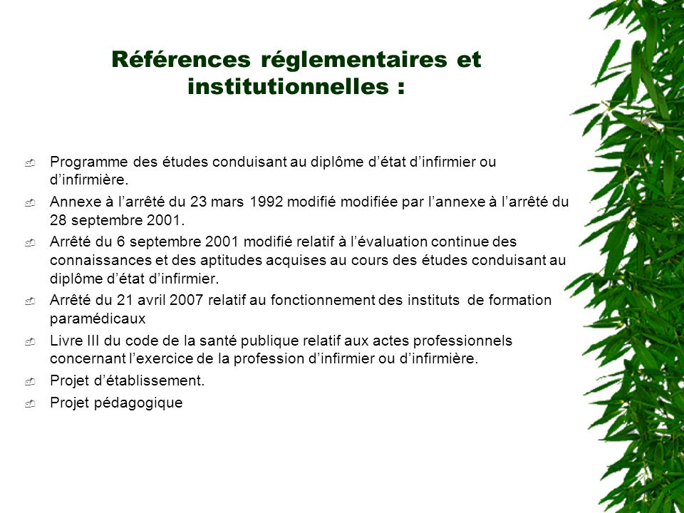 Références réglementaires et institutionnelles :