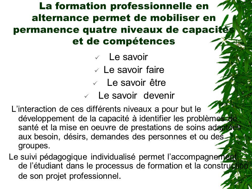 La formation professionnelle en alternance permet de mobiliser en permanence quatre niveaux de capacités et de compétences