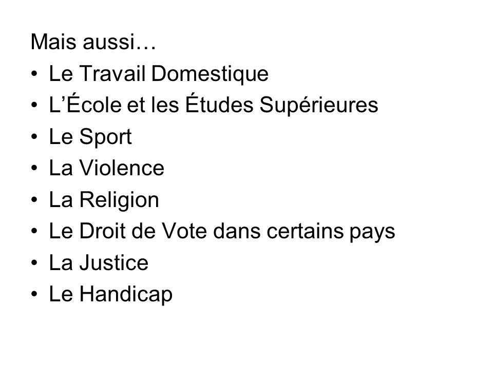 Mais aussi… Le Travail Domestique. L'École et les Études Supérieures. Le Sport. La Violence. La Religion.