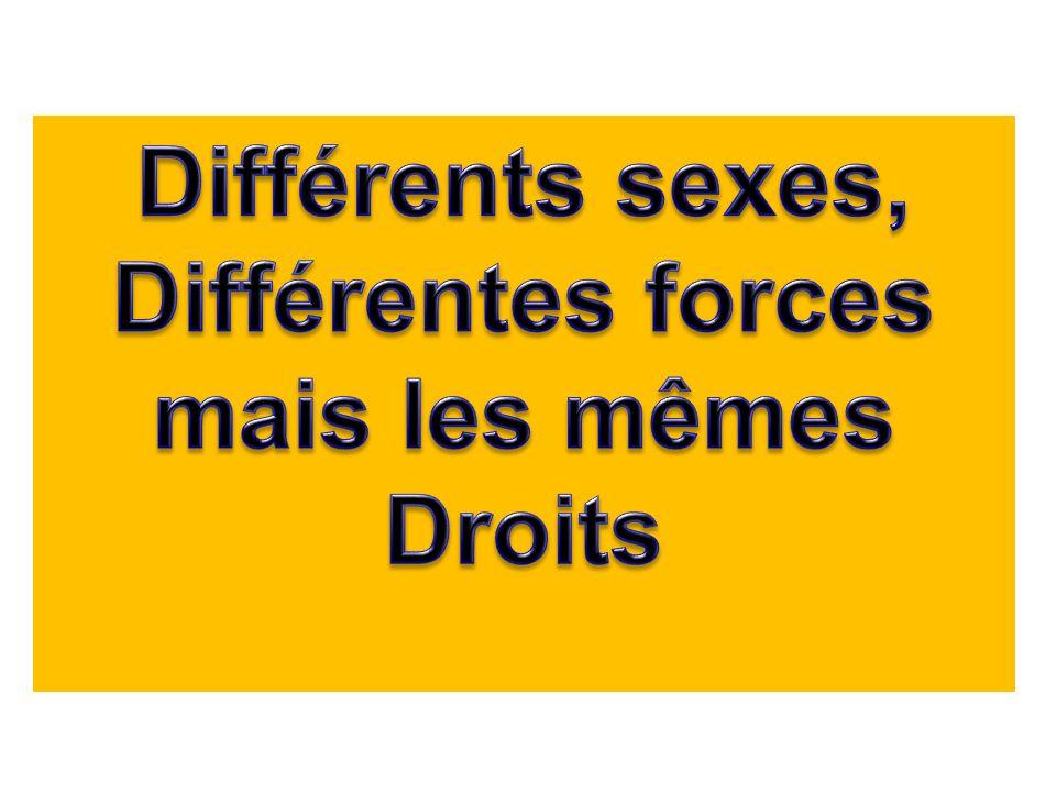 Différents sexes, Différentes forces mais les mêmes Droits