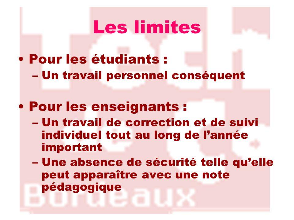 Les limites Pour les étudiants : Pour les enseignants :