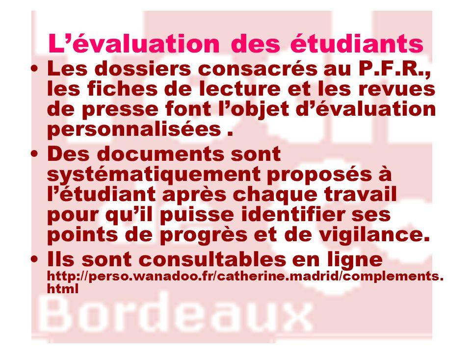 L'évaluation des étudiants