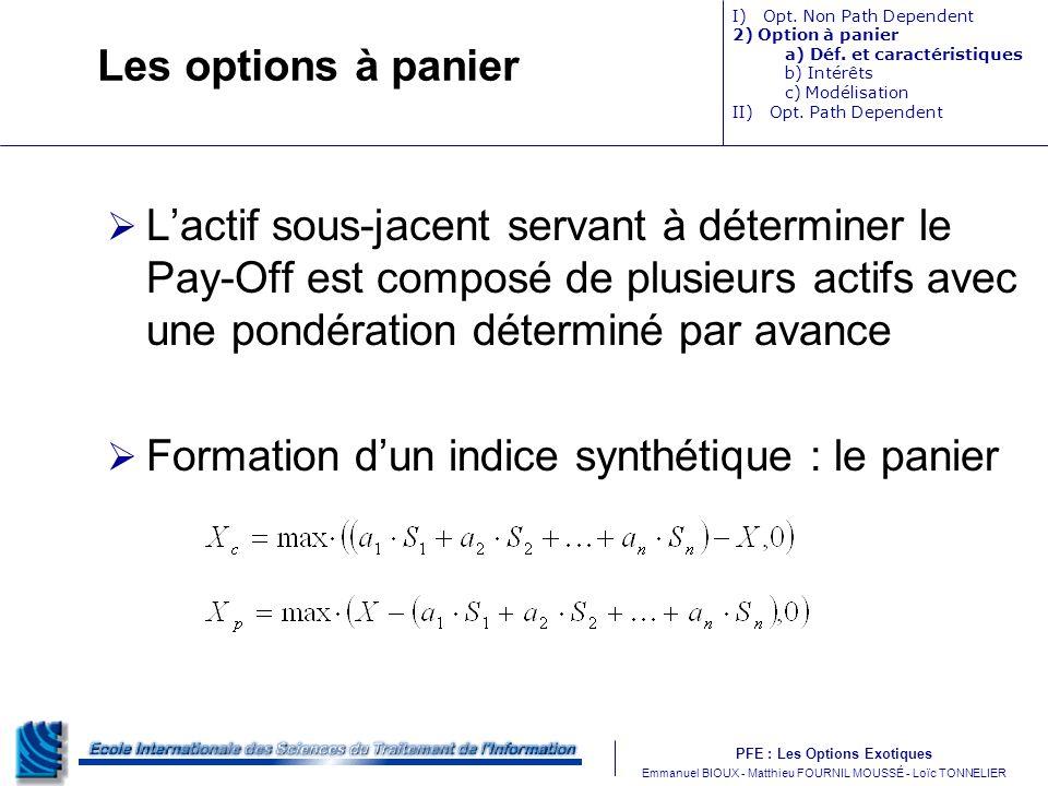 Formation d'un indice synthétique : le panier