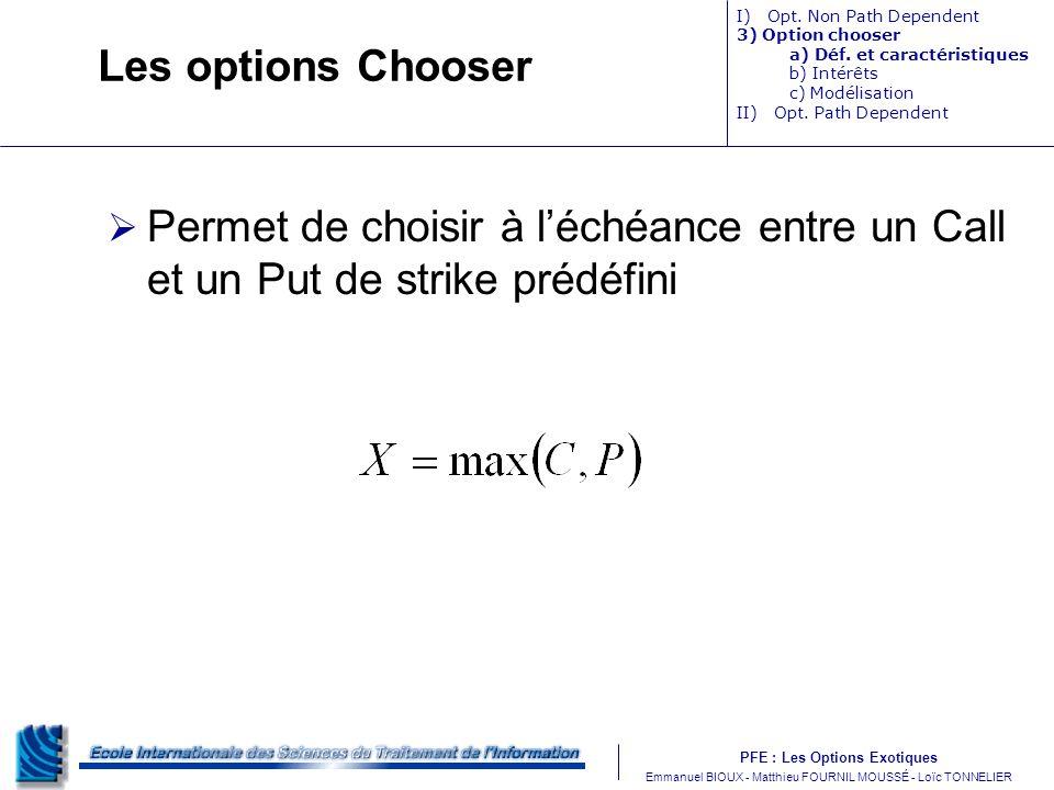 Les options Chooser I) Opt. Non Path Dependent. 3) Option chooser. a) Déf. et caractéristiques.
