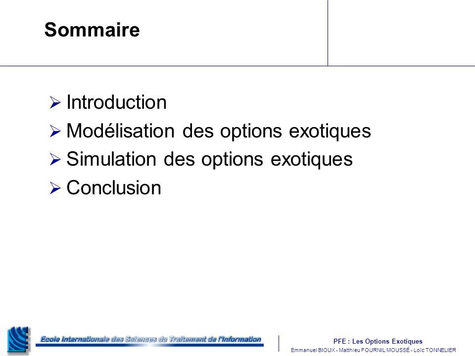 Sommaire Introduction. Modélisation des options exotiques.