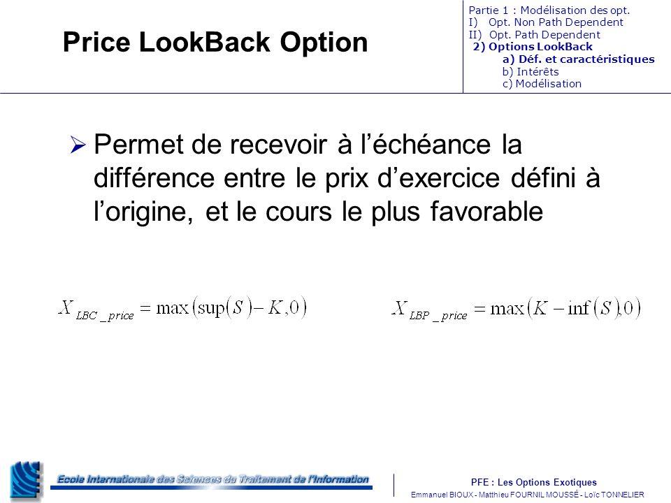 Price LookBack Option Partie 1 : Modélisation des opt. I) Opt. Non Path Dependent. II) Opt. Path Dependent.