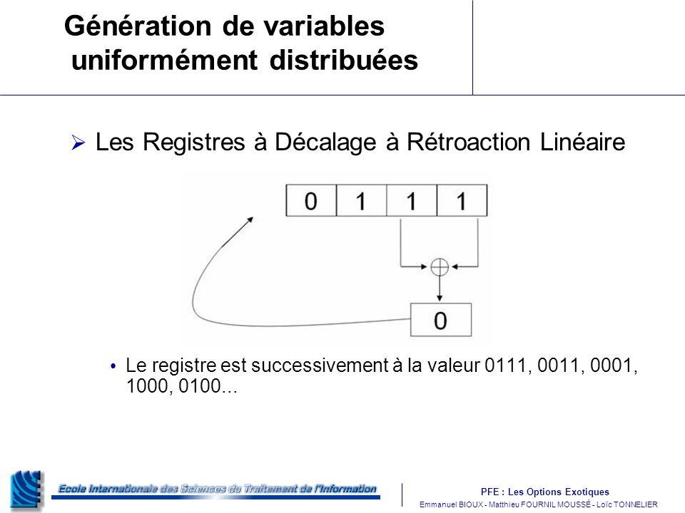 Génération de variables uniformément distribuées