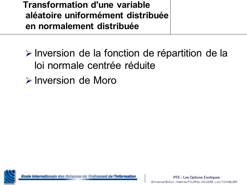 Transformation d une variable aléatoire uniformément distribuée en normalement distribuée