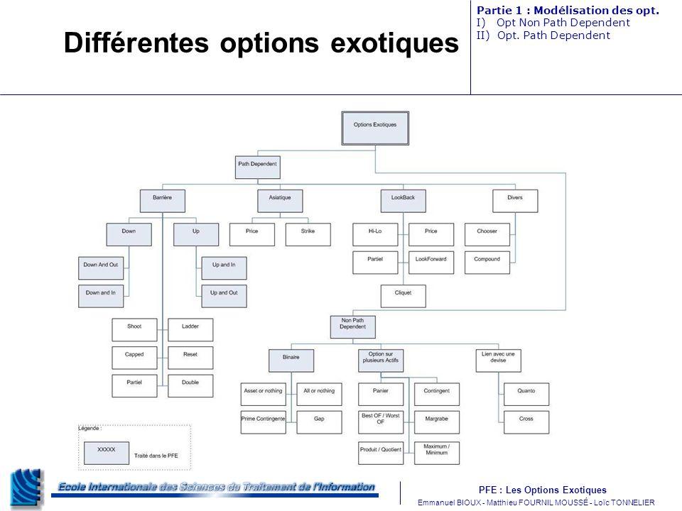 Différentes options exotiques