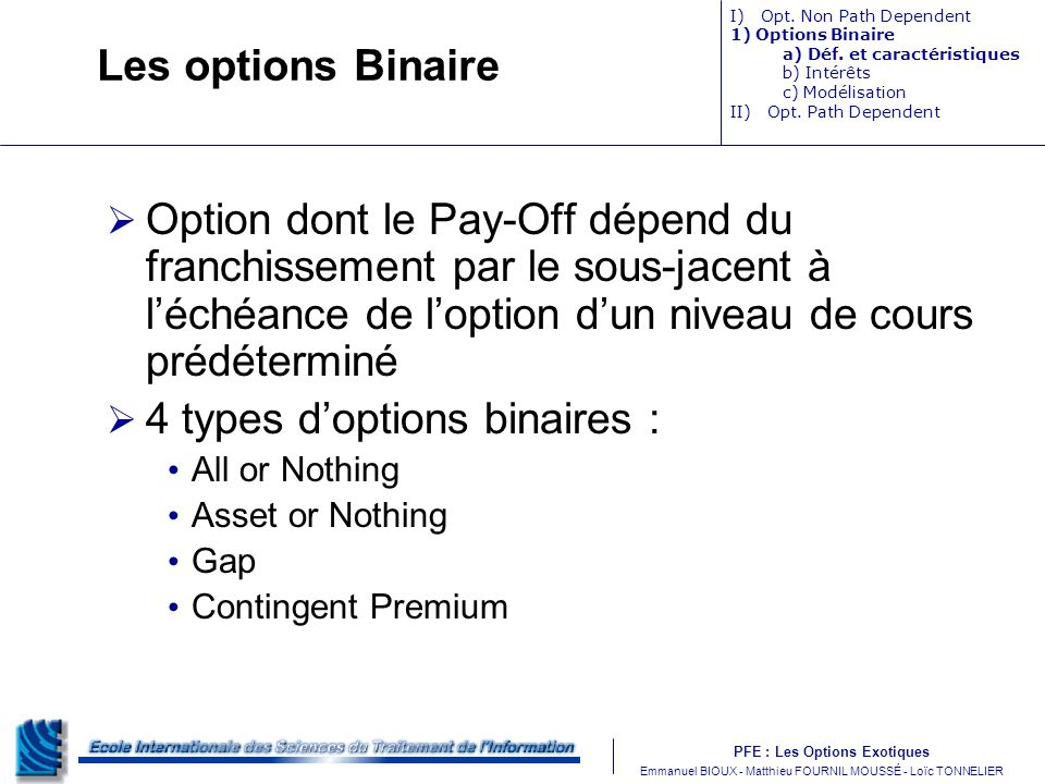 4 types d'options binaires :