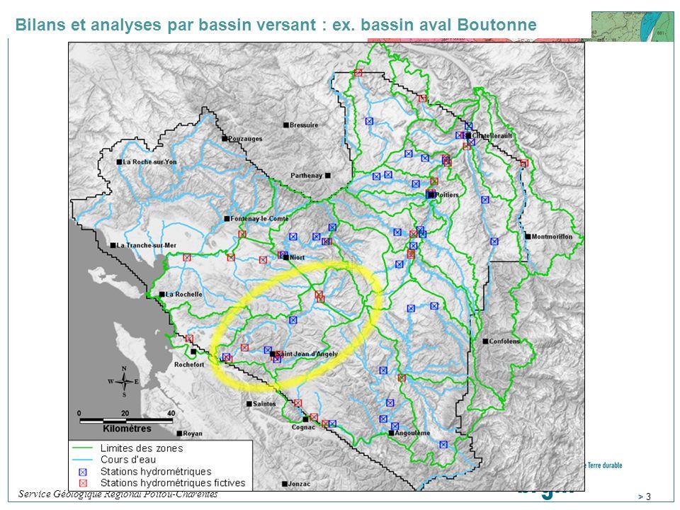 Bilans et analyses par bassin versant : ex. bassin aval Boutonne