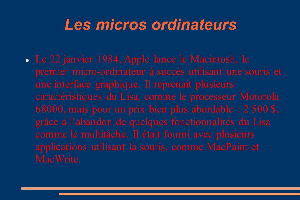 Les micros ordinateurs