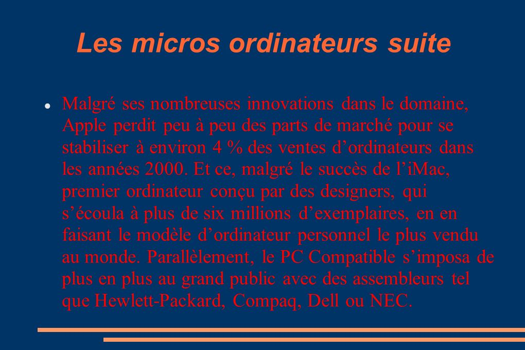 Les micros ordinateurs suite
