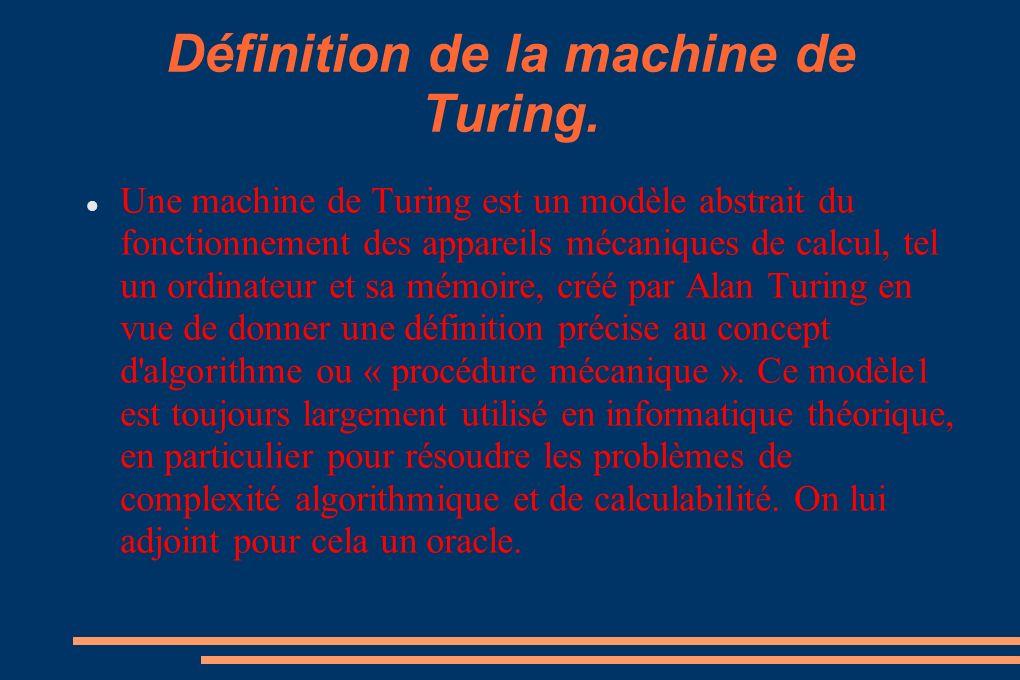 Définition de la machine de Turing.