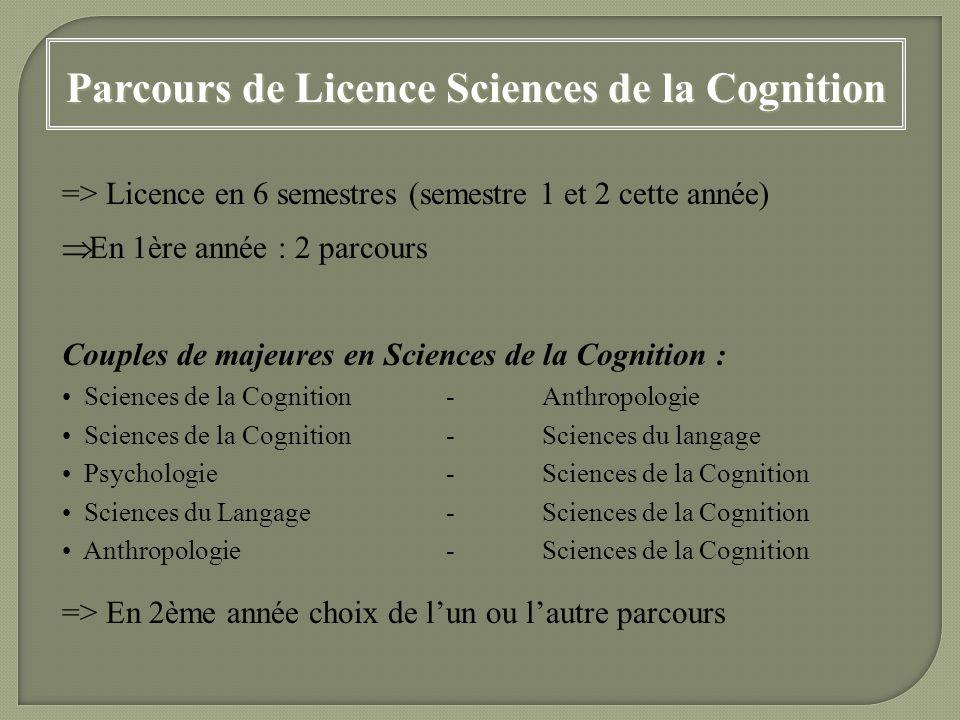 Parcours de Licence Sciences de la Cognition