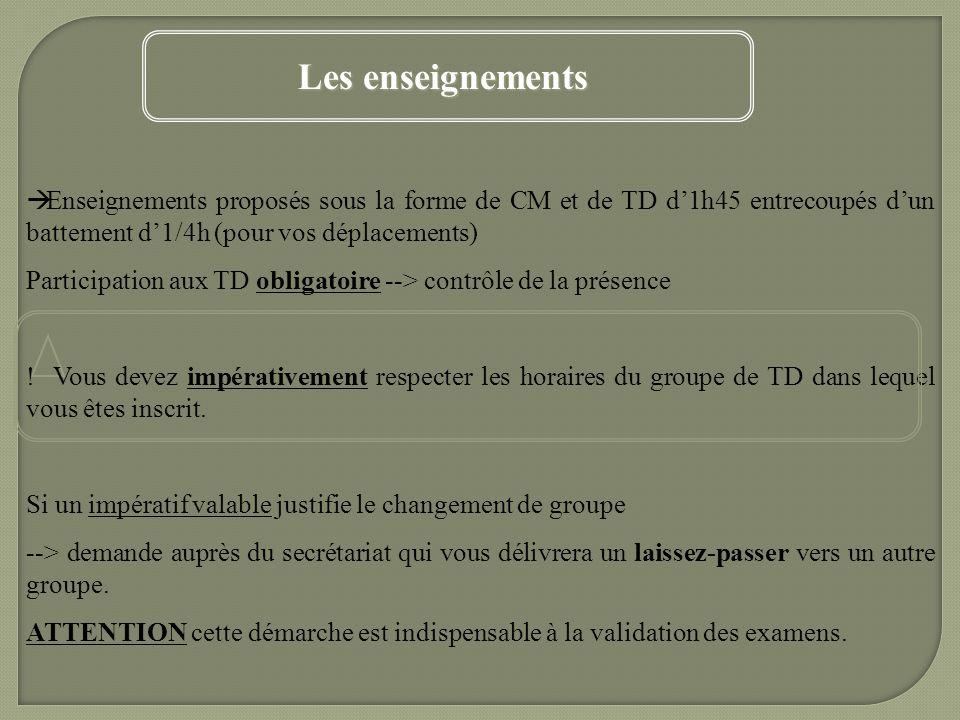 Les enseignements Enseignements proposés sous la forme de CM et de TD d'1h45 entrecoupés d'un battement d'1/4h (pour vos déplacements)