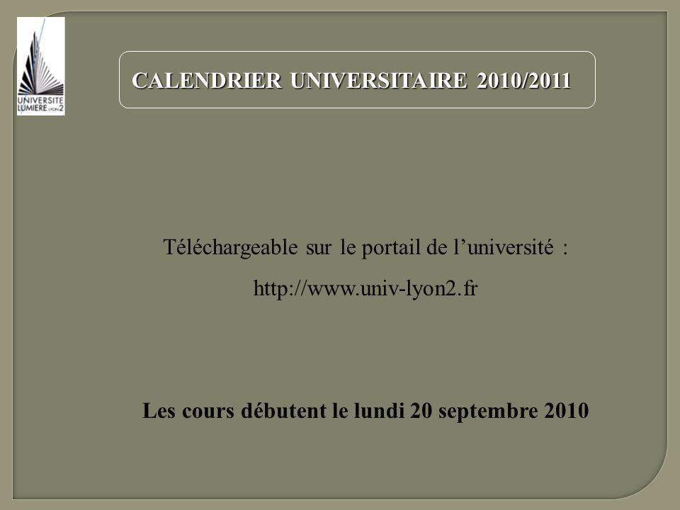 Les cours débutent le lundi 20 septembre 2010