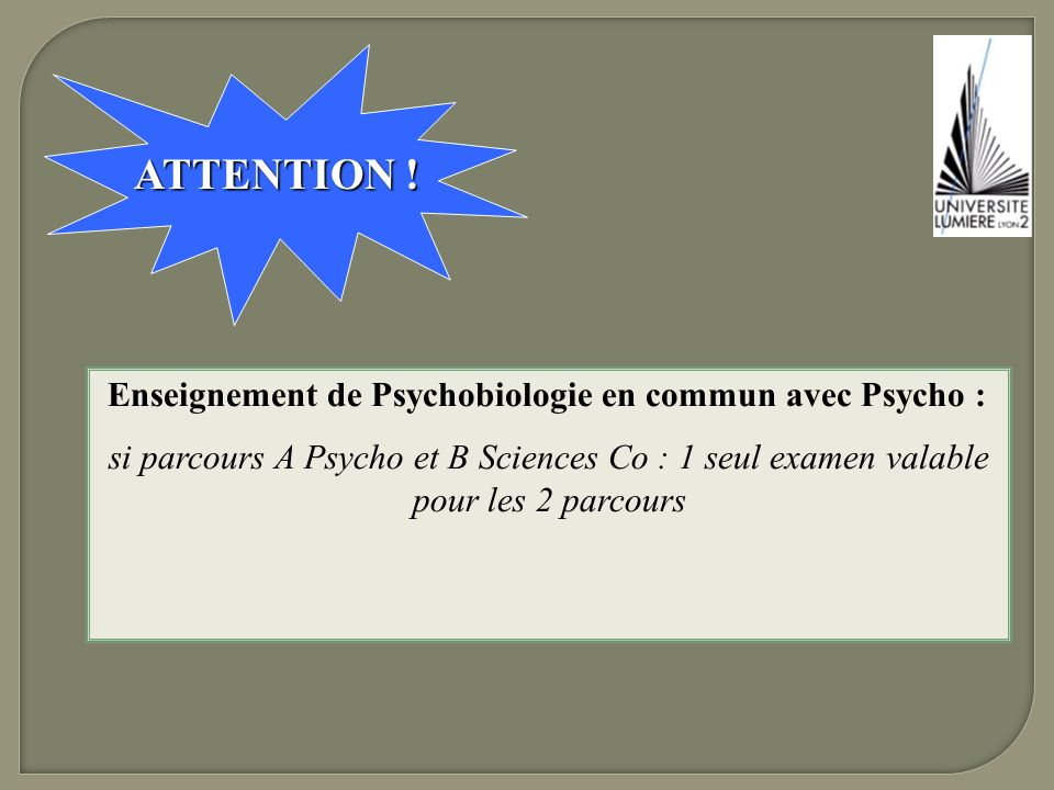 ATTENTION ! Enseignement de Psychobiologie en commun avec Psycho :