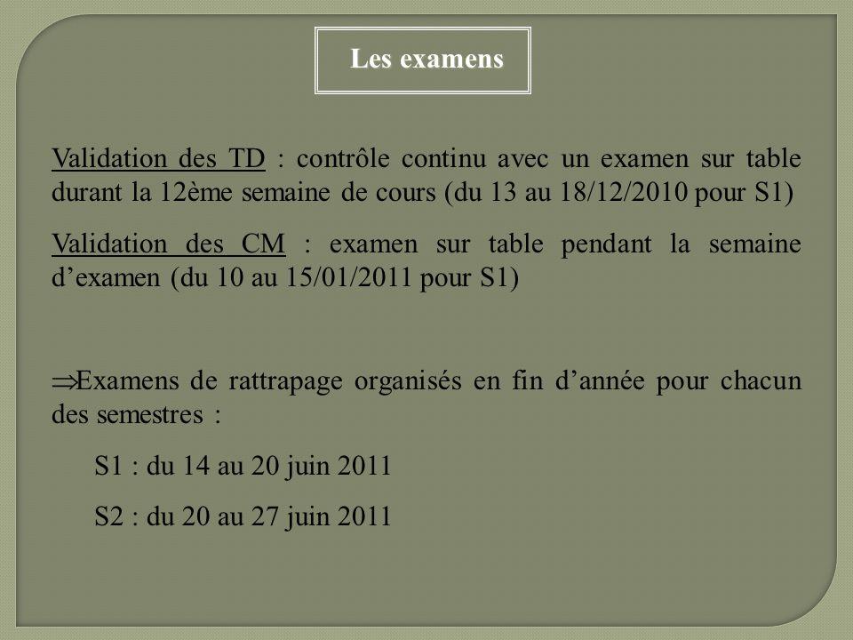 Les examens Validation des TD : contrôle continu avec un examen sur table durant la 12ème semaine de cours (du 13 au 18/12/2010 pour S1)