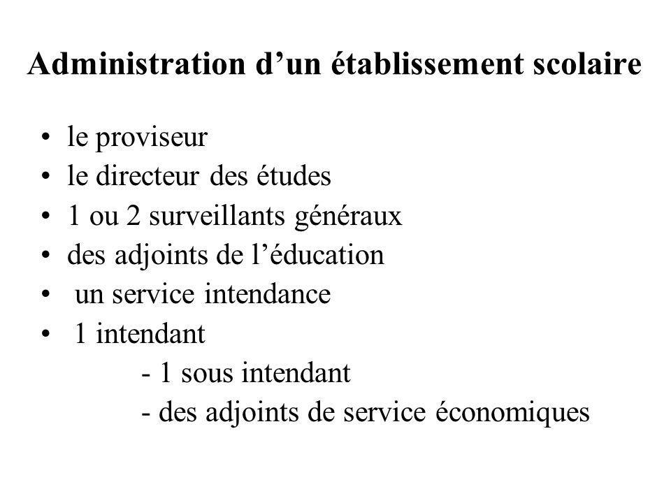 Administration d'un établissement scolaire
