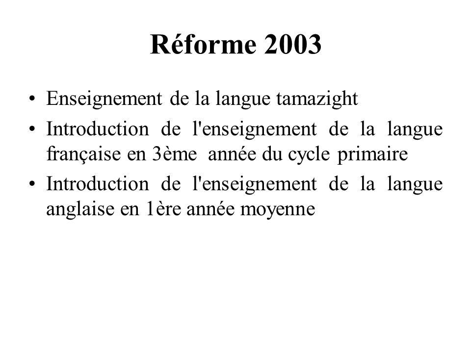 Réforme 2003 Enseignement de la langue tamazight
