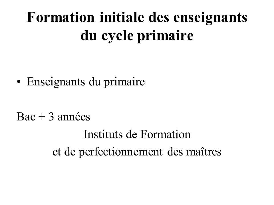 Formation initiale des enseignants du cycle primaire