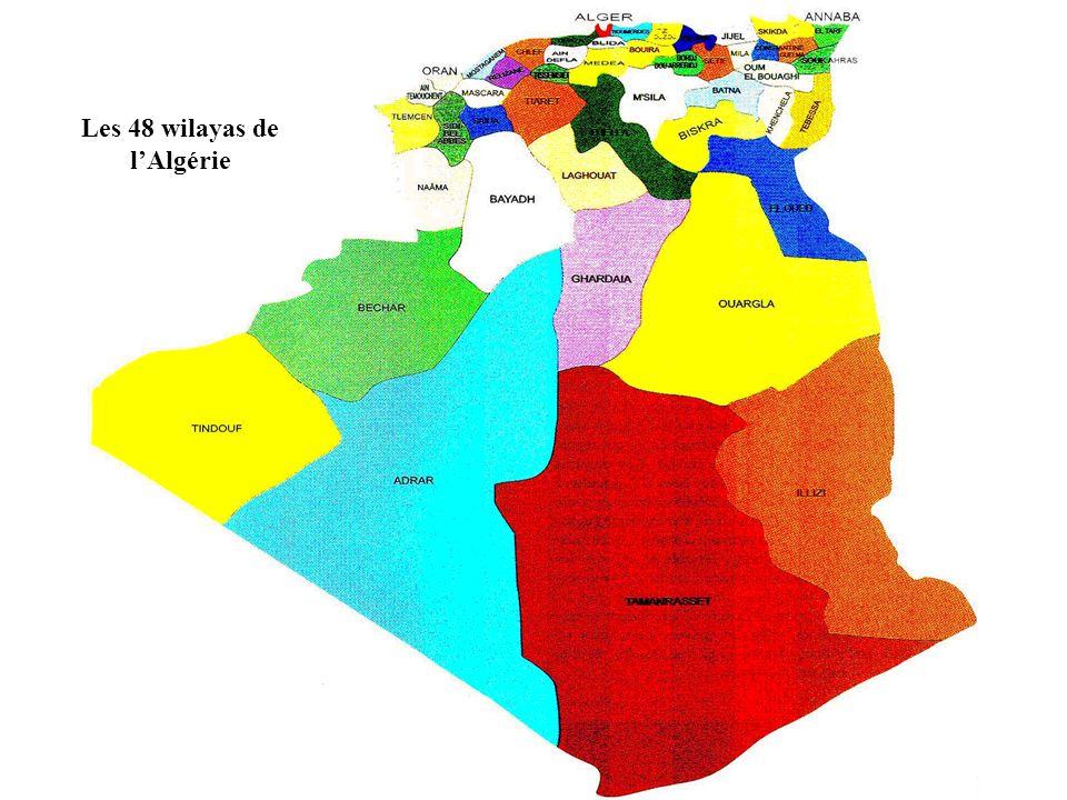 Les 48 wilayas de l'Algérie