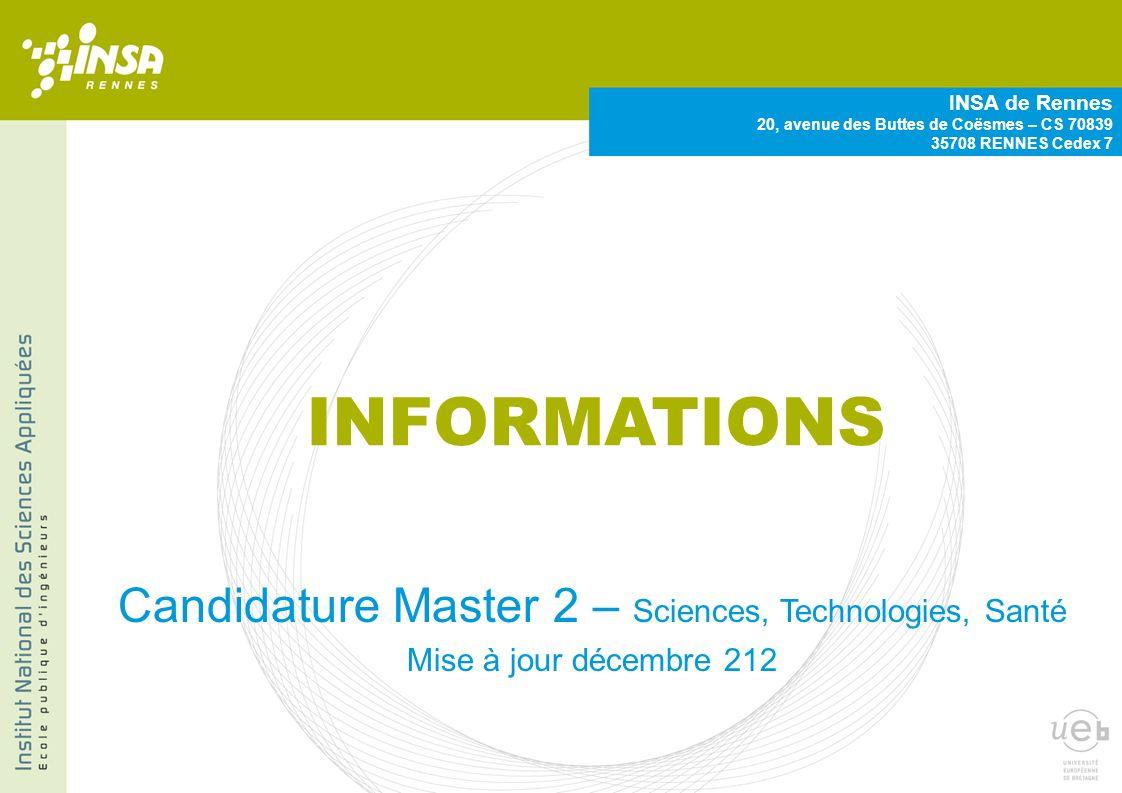 Candidature Master 2 – Sciences, Technologies, Santé