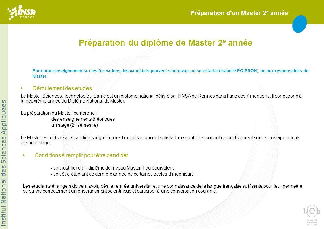Préparation du diplôme de Master 2e année