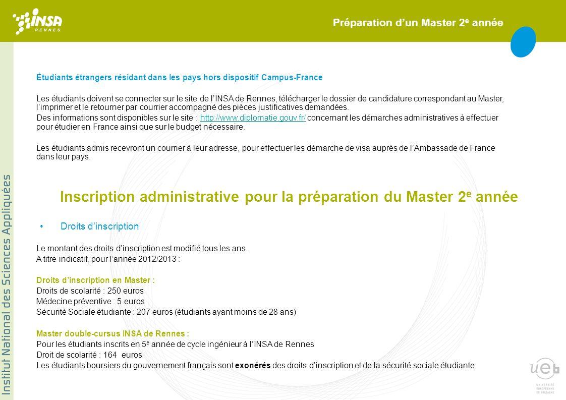 Inscription administrative pour la préparation du Master 2e année