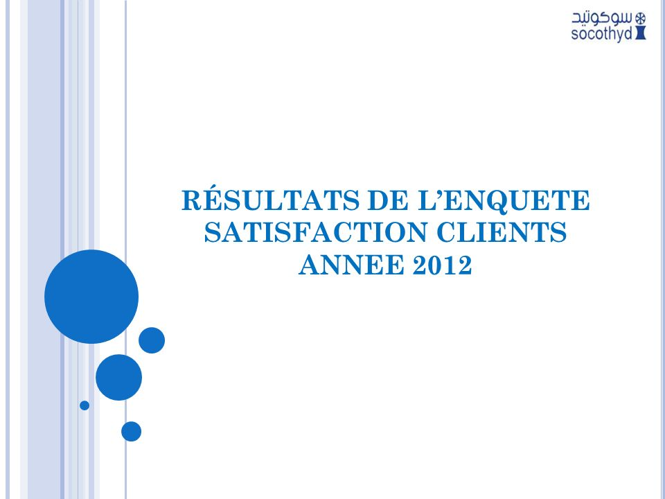 RÉSULTATS DE L'ENQUETE SATISFACTION CLIENTS ANNEE 2012