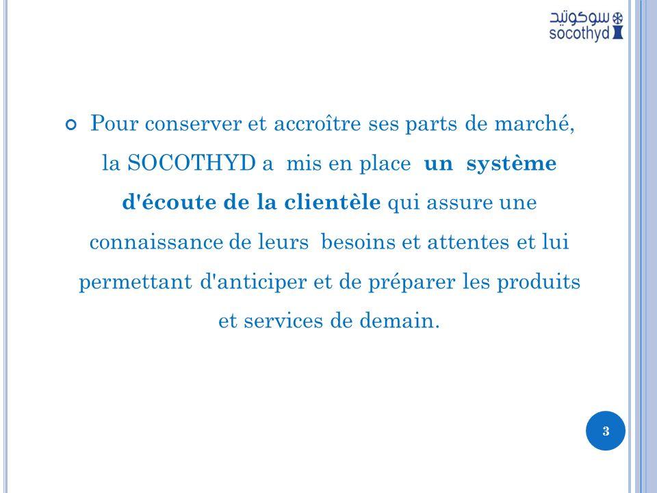 Pour conserver et accroître ses parts de marché, la SOCOTHYD a mis en place un système d écoute de la clientèle qui assure une connaissance de leurs besoins et attentes et lui permettant d anticiper et de préparer les produits et services de demain.