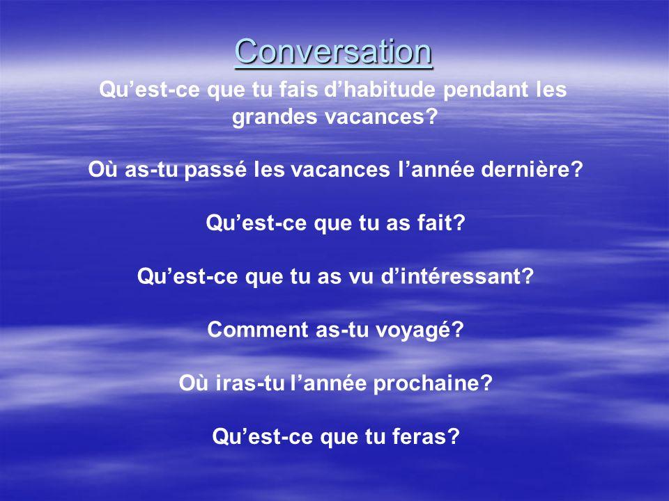 Conversation Qu'est-ce que tu fais d'habitude pendant les