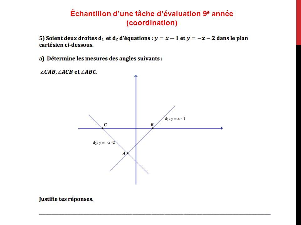 Échantillon d'une tâche d'évaluation 9e année (coordination)