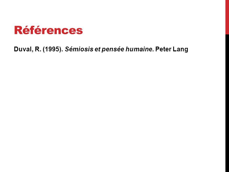 Références Duval, R. (1995). Sémiosis et pensée humaine. Peter Lang