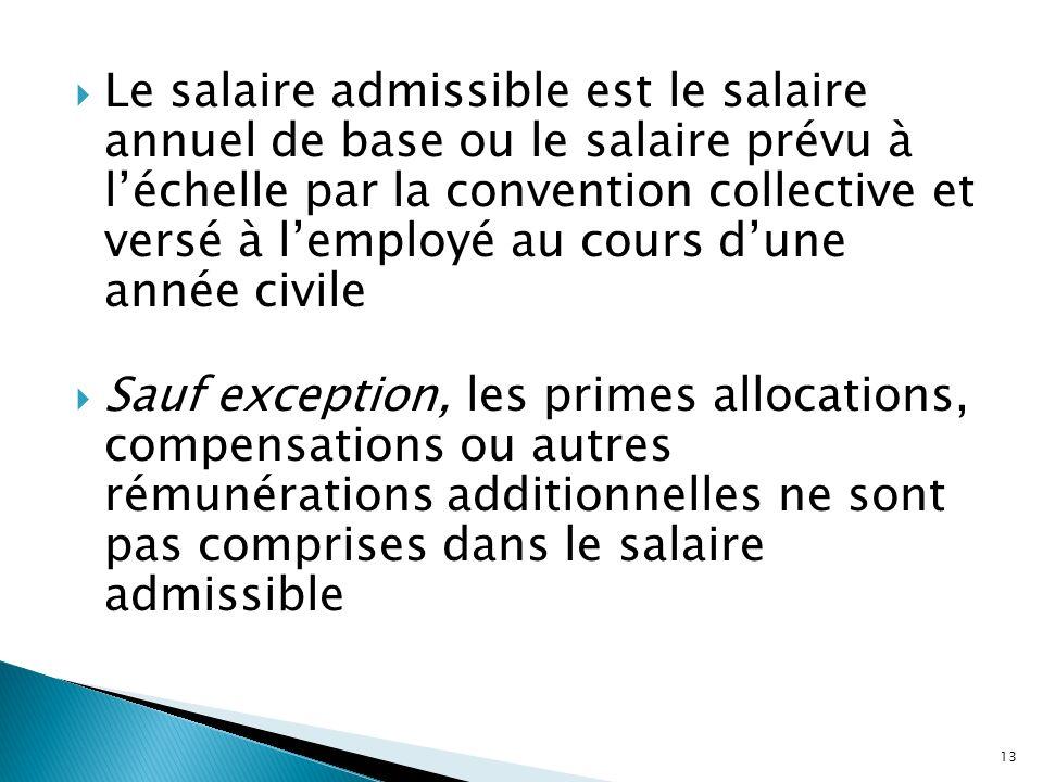 Le salaire admissible est le salaire annuel de base ou le salaire prévu à l'échelle par la convention collective et versé à l'employé au cours d'une année civile