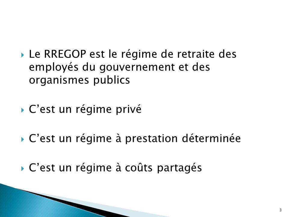 Le RREGOP est le régime de retraite des employés du gouvernement et des organismes publics