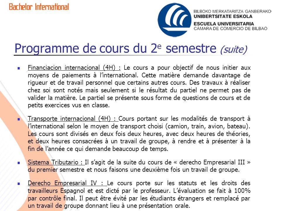 Programme de cours du 2e semestre (suite)