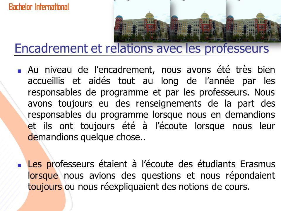 Encadrement et relations avec les professeurs