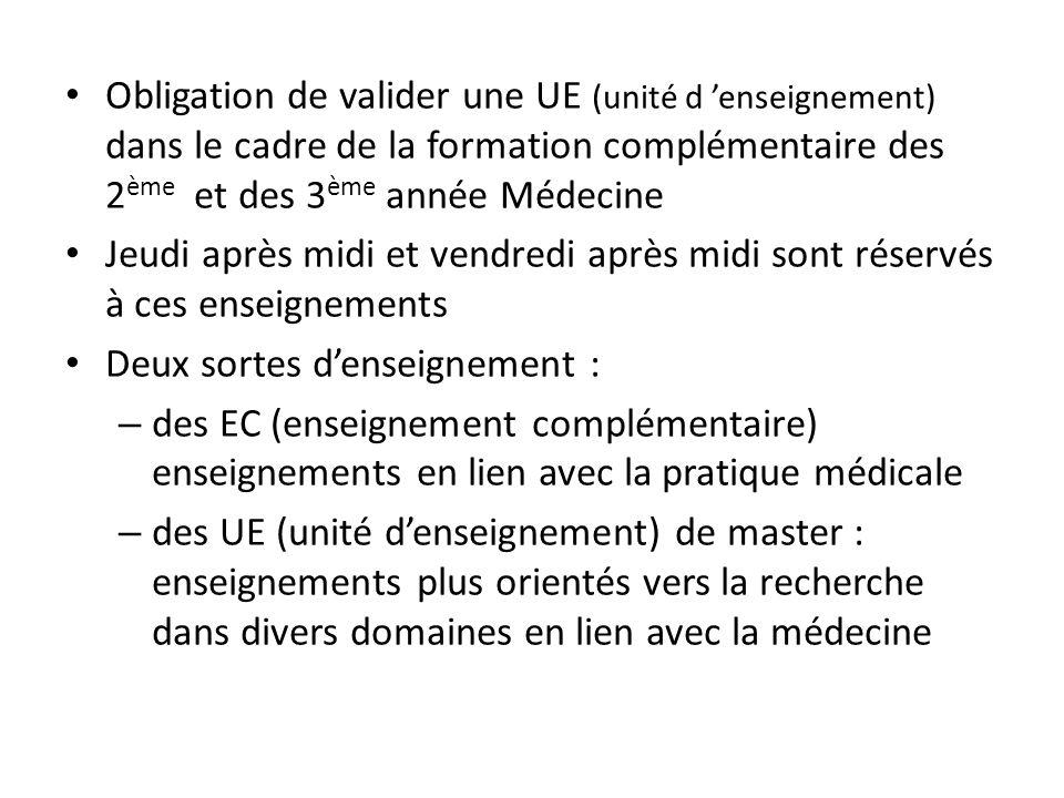 Obligation de valider une UE (unité d 'enseignement) dans le cadre de la formation complémentaire des 2ème et des 3ème année Médecine